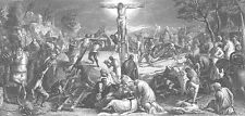 CRUCIFIXION of JESUS CHRIST on CROSS ~ 1872 TINTORETTO BIBLE Art Print Engraving