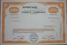 SPECIMEN Stock Certificate: 'Vesely Co.' Apache Pop-Up Camping / Camper Trailers
