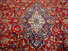 10X13 1960s SPECTACULAR AUTHENTIC HAND KNOTTED ANTIQUE WOOL MASHAD PERSIAN RUG