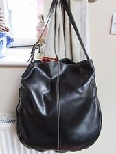 XL MANIA Italian Smooth Supple Black Luxury Leather Slouch Hobo Shoulder Bag