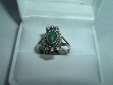 VINTAGE SOUTHWEST TURQUOISE BEADED STERLING SILVER RING, SIZE 6.5 IN RING BOX