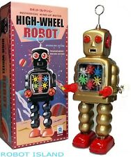 High Wheel Robot Windup Gear Tin Toy Gold Edition NEW!