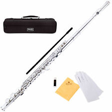 MENDINI NICKEL PLATED / SILVER C FLUTE 16 KEY w/Split E CLOSED HOLE -MFE-N
