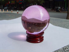 40mm+Stand Beautiful Asian Quartz Pink Magic Crystal Healing Ball Sphere