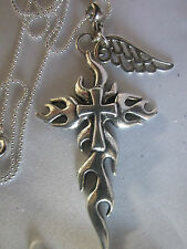 """SALE///GOTHIC CROSS&ANGEL WING ON STERLING SILVER CHAIN 22""""/Giftbaged."""