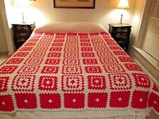 Granny Square Afghan Hand Crocheted CHRISTMAS COLORS Throw Blanket 70 by 80""