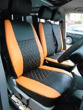 TO FIT A VW TRANSPORTER T5 VAN, SEAT COVERS, 2007, ORANGE / BK DIAMOND STITCH