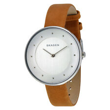Skagen Gitte Silver Dial Light Brown Leather Strap Ladies Watch SKW2326