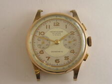 Vintage Swiss Suisse Chronograph Watch 18k Solid Rose Gold Large Size 1940's
