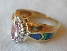 14K Yellow Gold Inlaid Opal Pink Sapphire Diamond Ring - 5.5 grams, Size 6.75
