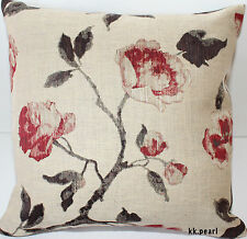 """John Lewis Retro Vintage Cushion Cover LINEN ROSES Fabric 16"""" Double Sided"""