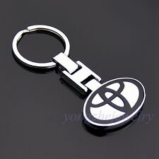 Double Side Logo Metal Key Chain Car Holder Silver Key Rings Toyota with Box