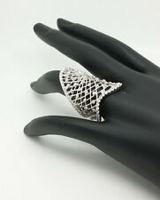Platinum over 925 Sterling Silver Web Mesh Ring Size 9 Retails $400