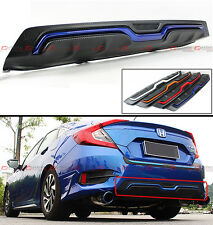 For 2016-17 Honda Civic 4d Sedan Carbon Texture Rear Bumper Diffuser Blue Accent