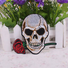 Stylish Embroidered Skull Rose Fabric Patch Sticker Clothes Accessories