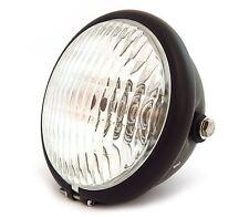 """5.75"""" Side Mount Halogen Motorcycle Headlight - Matte Black - Clear"""