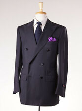 NWT $3995 D'AVENZA Charcoal-Light Gray Stripe Super 130s Wool Suit 38 R Handmade