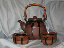 Red Clay Teapot 2 Teacups Brown Drip Glaze Bisque San Francisco Wicker #DH23