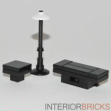LEGO Furniture: Black Seating Table Set - Coffee & Side Tables + Lamp  [custom]
