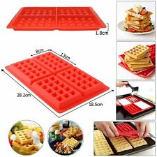 Red Silicone Mini Waffles Pan Cake Baking Baked Cake Chocolate Mold Tray DIY