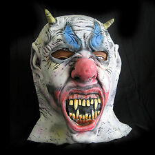 Evil Clown Demon Horned Devil Mask Adult Latex Halloween Costume Accessory