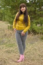 mohair69 New Pants Leggings Mohair hand-knitted goat fuzz without dyes Size XS-S