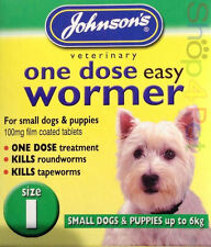 Johnsons DOG WORMER One Dose Treatment Easy Wormer / Worming Tablets Size One