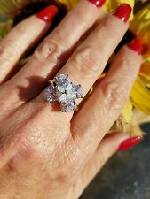 Sparkling White Zircon W/Marquise Opal Cluster Ring, 925 Silver, Size 7