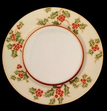 "Fitz And Floyd Japan Christmas Holly 7 1/2"" Salad Plate Gold Berries Cream White"