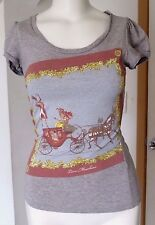LOVE MOSCHINO GRAY COTTON  HORSE BUGGY SHORT SLEEVE GRAPHIC T-SHIRT TOP SZ 4