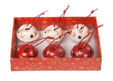 Set of 6 Snowflake Bells Boxed Christmas Tree Decoration Red White Sass & Belle