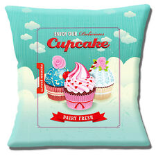"VINTAGE RETRO CUPCAKES pink blue aqua red OLD MOTTLED 16"" Pillow Cushion Cover"