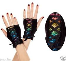 Retro 80's Punk Rainbow Sequin Wrist Fingerless Corset Lace-Up Bow Black Gloves