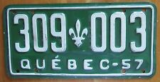 Quebec 1957 License Plate NICE QUALITY # 309-003