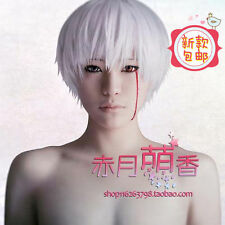 Tokyo Ghoul Kaneki Ken synthetic Short straight Anime Cosplay Silver White wig