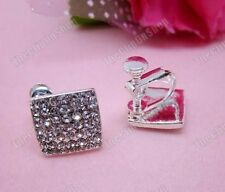 CLIP ON screw BIG SQUARE crystal RHINESTONE EARRINGS
