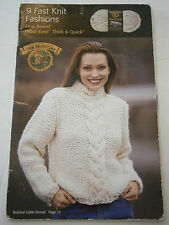 Lion Brand Wool-Ease 9 Fast Knit Fashions Pattern Book Sweater Coat Scarf Hat
