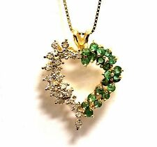 14k yellow gold .10ct SI3 H diamond emerald heart pendant box necklace 5.5g 18""