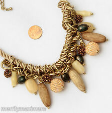 Chico's Signed Necklace Long Cord Gold Tone Chain Chunky Neutral Beads