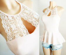 NEW Charlotte Russe Nude Ivory Embroidery Lace Halter Neck Romantic Peplum Top