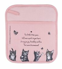 "Cat Cotton Pot Holder or Pot Mitt with Poem ""It's All about Meow"" - Ashdene"