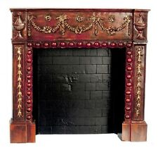 Dollhouse Miniature Resin Fireplace in Rosewood by Falcon Miniatures