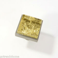 Metallic Gold Crystal Glass Cabinet Brush Nickel Knob Drawer Pull Square Modern