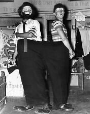 Two Circus Clowns in Big Pants, vintage photo, 1950's