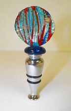 MURANO ART GLASS BOTTLE STOPPER NEVER USED TURQUOISE & RED ROUND GLASS TOP