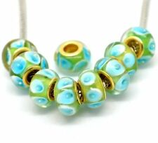 Ten Pack of Assorted Green and Blue Glass Lampwork, Murano Glass Beads