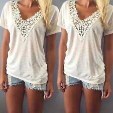 Women's Summer White Blouse Lace Vest Top Short Sleeve Casual Tank Tops T-Shirt