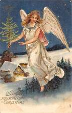 Angel Woman Wings, Fir Tree, Wishing You a Merry Christmas 1905