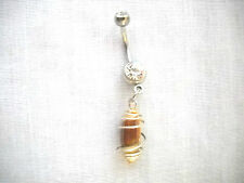 WHOLE NATURAL BEACH SHELL IN WIRE WRAP CAGE ON 14g CLEAR CZ BELLY RING BARBELL