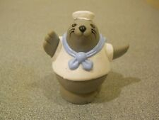 Fisher Price Little People Vintage 1996 Gray Seal Sailor Animal Figure White hat